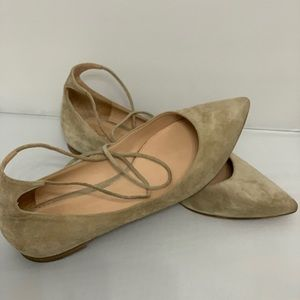 Gianvito Rossi suede lace up ballerina flats
